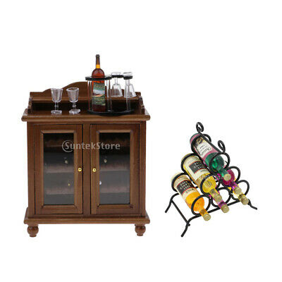 Vintage Wooden Wine Cabinet Set & Wine Rack Doll House Furniture Decor 1/12