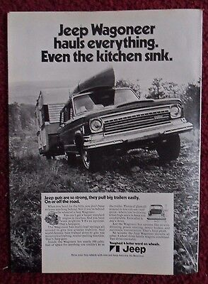 1972 Print Ad Jeep Wagoneer Truck ~ Hauls Everything. Even the Kitchen Sink.