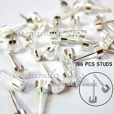 196Pcs Stainless STEEL STUDS Earrings EAR BODY RINGS for PIERCING GUN TOOLS New