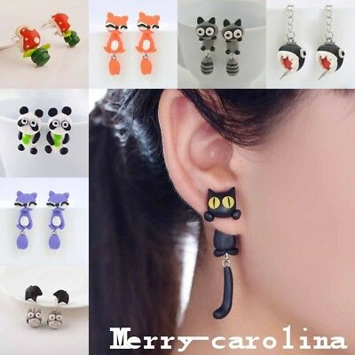 1Pair Cute 3D Cartoon Stud Earrings Jewelry Girl Animal Fox Cat Polymer Clay Ear