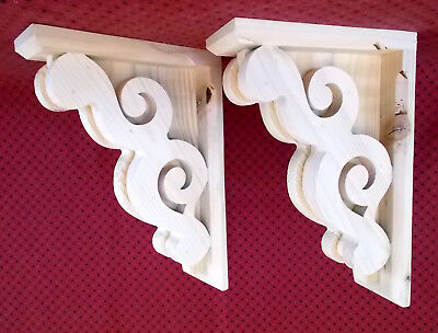 Pair 8 x 11-1/2 Victorian Design Wood Corbels Shelf Mantle Brackets (SCW #6008R)