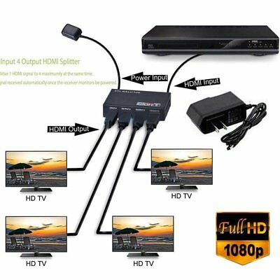 1x 4 HD 4K 4 Port HDMI Splitter Repeater Amplifier 1080P 3D Hub 1 In 4 Out