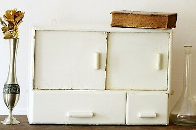 Vintage Medicine Cabinet White Wall Apothecary Cabinet Pharmacy Chest Rustic