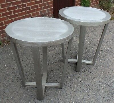 Pair 2 Art Deco style solid wood silver painted side occasional lamp tables