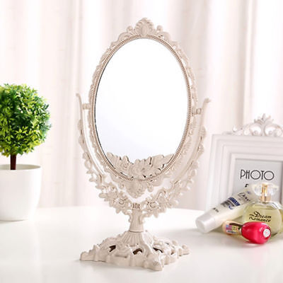 Beauty Double Sided Carving Mirror Makeup Shaving Cosmetic Dressing Table Vanity