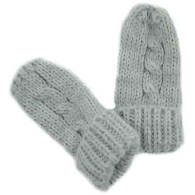 Baby boy girl unisex grey winter mittens 0-3-6-9-12 months cable knit new warm