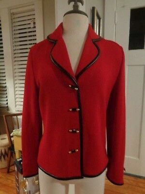 ST. JOHN Collection by Marie Gray berry red wool knit jacket women's size 4 USA