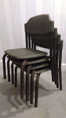 A Set of Four Vintage Industrial Stacking Childrens Chairs CFG Neeta Ekco Design