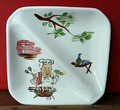 Retro vintage Japanese nibbles PLATE Divided DISH Hand painted Kitsch Kitchen