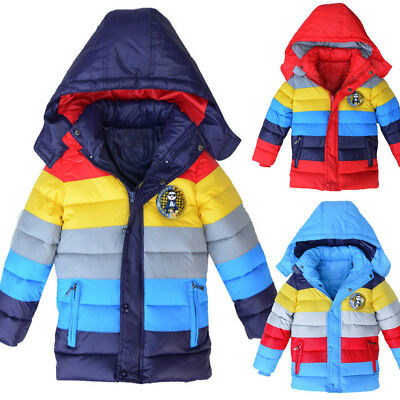Kids Boys Girls Hooded Thick Coat Padded Patchwok Winter Jacket Colorful Tops
