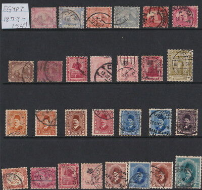 MIDDLE EAST EGYPT: 1879 - 1947 VINTAGE LOT OF 28 STAMPS ON HAGNER SHEET - v/Fine
