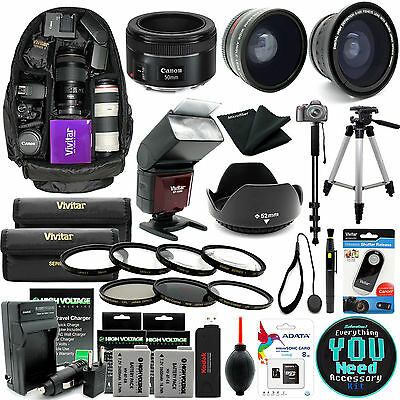Canon EOS Rebel T3i / 600D DSLR Camera Everything You Need Accessory Kit EF 50mm