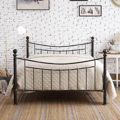 Metal Bed Frame Double King Size Black Bronze Antiqued Finish Victorian Style