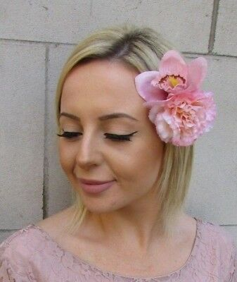 Double Blush Light Nude Pink Orchid Carnation Flower Hair Clip Fascinator 6203
