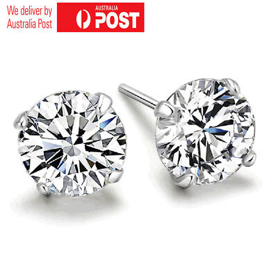 New 925 Silver Classic Crystal Lab 4mm Diamond Cutting Stud Earrings Gift