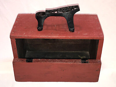Antique Shoe Shine Box with Cast Iron Star Foot Rest