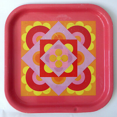 Retro 1960s 1970s tin metal serving tray. Pink,yellow op art/pop. Square vintage
