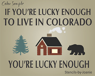 Stencil Lucky Enough Mountains Block Lettering Typography Art Subway Rustic Sign