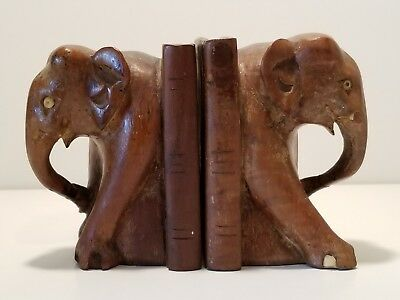 Antique Carved Wooden ELEPHANT BOOKENDS wood book ends - tusks missing