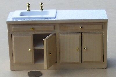 1:12 Scale Pine Colour Sink Unit Tumdee Dolls House Kitchen Accessory DF844