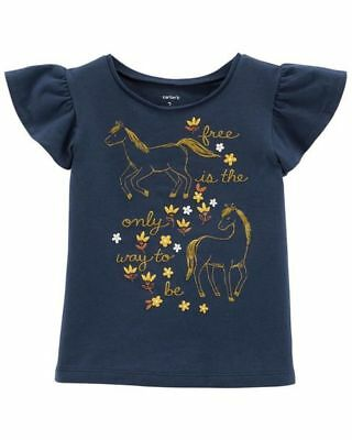New Carter's Girls Horse Gold Glitter Fancy Flutter Top NWT 3T 4T 5T Navy Blue