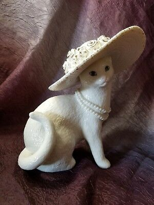 Lenox Picture Perfect Cat Figurine Hand Painted Ivory Cat Collection COA