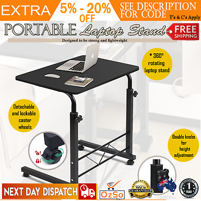 Portable Laptop Desk Adjustable Mobile Study Sofa Bed Side Table on Wheel Stand