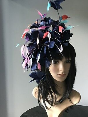 NEW PURPLE LOOP BOW WITH FEATHER FASCINATOR HAIR COMB NCC 8567