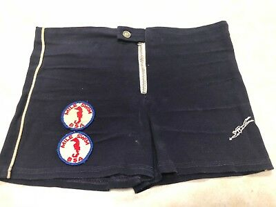 Vintage Swimtrunks by Famous Knitwear w/Boy Scout Patches Sewn On