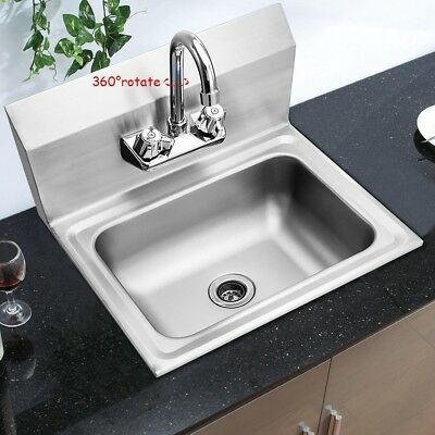 Classic Wall Mount Kitchen Stainless Steel Hand Washing Sink Basin W/Faucet
