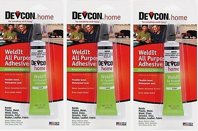 3 New Devcon 18245 Home WeldIt All Purpose Adhesive 1 oz. High Strength adhesive