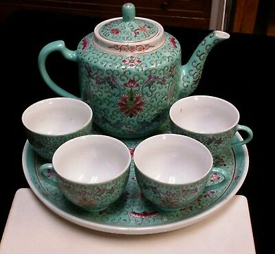 Vintage Chinese Asian Turquoise Blue Floral  Porcelain Tea Set with Tray and box