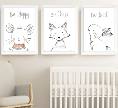 Hand Drawn Animals Nursery Prints Set, Monochrome Baby Room Pictures Wall Art
