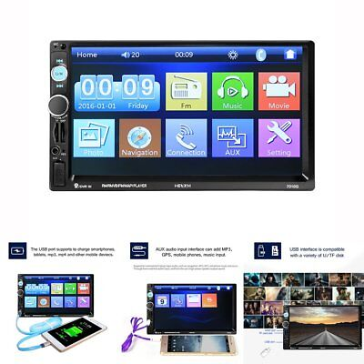 """7"""" Double 2 Din Bluetooth Car MP3 MP5 FM Player Radio Touch Screen GPS Rearview"""