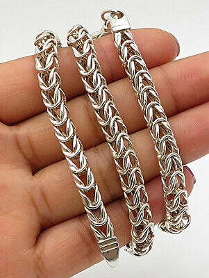 925 Sterling Silver - Vintage Cubed Byzantine Chain Necklace - N1642