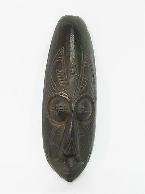"""Tribal Mask w/ Horns 12"""" Wooden Hand Carved & Painted Bali Indonesia Wood Black"""