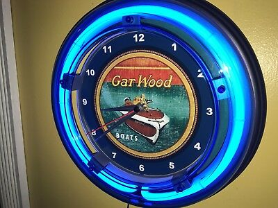 *** Garwood Wooden Boat Yacht Fishing Garage Advertising Neon Wall Clock Sign