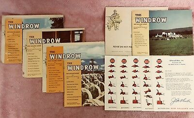 """5 New Holland """"The Windrow"""" mailers, 1952 & 53, with 5 cover letters 4 envelopes"""