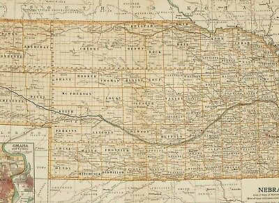 1903 Antique Map Nebraska Omaha Perkins Buffalo Dawson Lincoln