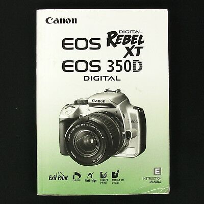 Canon Digital Rebel Xt Owners Manual Product User Guide Instruction