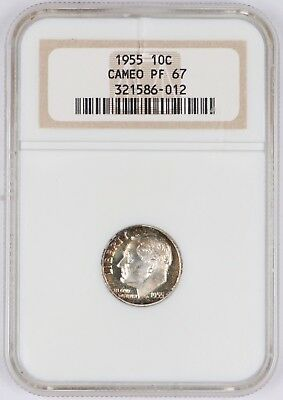1955 Proof Roosevelt Dime 10C Silver NGC PF67 Cameo Rainbow Toned