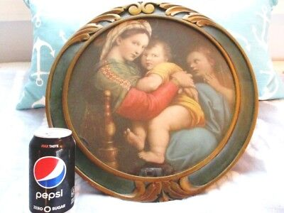 Large Antique Picture Madonna Baby Jesus Org. Glass, Green & Gold Carved Frame