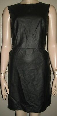 Atmosphere leather looks black smart casual semi fitted dress size 14