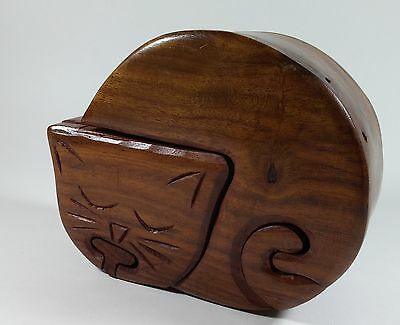 COLLECTIBLE Wooden Kitty Cat Puzzle Trinket Memory Jewelry Box 5 x 4 x 2.25 in