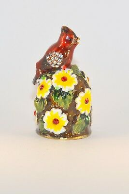 Сollectible Hand-painted Decorative Enamel Thimble- Red Bird And Flowers