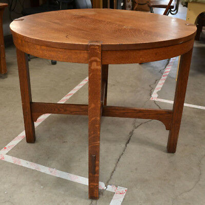 Antique Arts & Crafts Gustav Stickley Oak Lamp Table #645 Original Finish Signed
