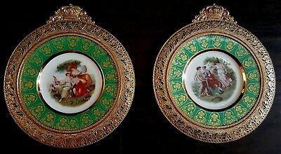 Pair Of Vintage Victorian Courting Lovers Portrait Wall Plates Repousse frames
