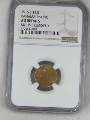 1915-S Panama Pacific $2.50 Gold Quarter Eagle NGC AU Detail Superb Luster #735E