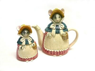 Otagiri Pottery Mice Tea Pot and Covered Sugar Hand Painted Pottery from Japan
