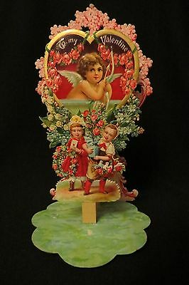 Vintage CHERUB & Forget-me-nots Valentine Card c. early 1900s GERMANY